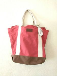 Tommy Bahama Red XL Large Cotton Canvas Beach Bag Travel Tote NWT Lake Boat