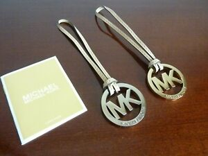 MICHAEL KORS GOLD SILVER TAN MK LOGO PURSE HANG TAG BAG CHARM FOB REPLACEMENT
