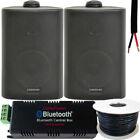 Garden Party BBQ Outdoor Speaker Kit Wireless Mini Stereo Amp & 2 Black Speakers