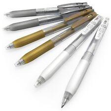 6x Zebra Sarasa Clip Gel Rollerball Pen -1.0mm Metallic Gold/ Silver + 0.5 White