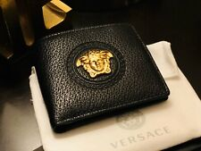 New Versace Black Palazzo Coin Bifold Wallet MSRP $425