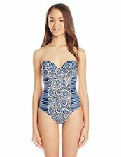 $92 Volcom Moroccan Dreams One Piece Swimsuit, Blue, X-Large New