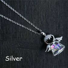 Chic Guardian Angel Crystal Pendant Silver  Plated Chain Necklace Women Jewelry