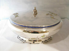 ANTIQUE STERLING SILVER & ENAMEL JAPANESE STYLE  ENTREE DISH by GALT & BRO.