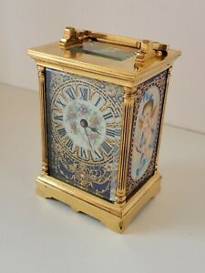 French Carriage Clock with porcelain panels late 1800s