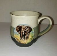 Striped Otagiri Elephant Tankard Coffee Mug Cup EUC Stoneware Speckled Green