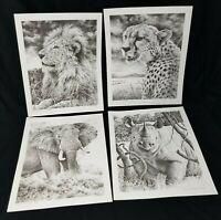African Wildlife Lithographs Set of 4 William Baker Signed Dated Art Unframed