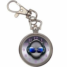 Dj Blue Eyes Silver Key Ring Chain Pocket Watch