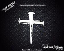 "3 Nails 1 Cross Jesus religious decal car window laptop WHITE 4"""