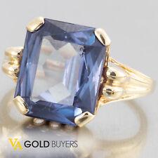 1960's Estate Retro 10k Yellow Gold Emerald Cut Synthetic Alexandrite Ring