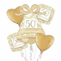 50th FOIL BALLOON BOUQUET GOLDEN ANNIVERSARY PARTY DECORATION 50 YEARS BALLOONS