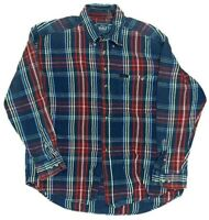 WOOLRICH Mens Red Blue Colors Plaid Flannel Cotton Shirt XL X-Large