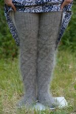 New Handmade High knee socks gray Thigh Leg Warmers Boot Over Natural goat down