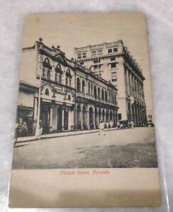 1922 Ceylon Chalam Street Colombo 2v 1An King Edward Stamp Postcard India to USA
