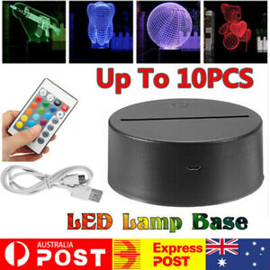 1/5/10X USB LED Lamp Base Acrylic Night Light Plate Panel Cable Remote Holders