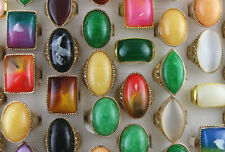 Gold P Jewelry Wholesale Lots 50pcs Big Colorful Resin Lady's Rings Party Gifts