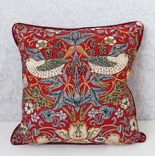 """William Morris Strawberry Thief Cushion Cover Red 18"""" x 18"""""""