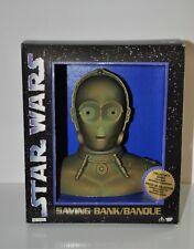 Vintage Star Wars Saving Bank buste C-3P0 Tirelire New 1994 collector thinkway