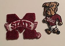 Mississippi State Embroidered Logo Iron-On Patches Lot of 2
