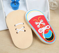 Wooden Lacing Shoe Learn to Tie Laces Educational Motor Skills kids ChildrenHU_X