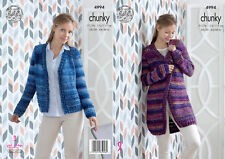 King Cole Ladies Chunky Knitting Pattern Womens Short or Lacy Long Cardigan 4994