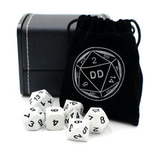 White Metal DnD Dice Set with Storage Box for Roleplaying Games