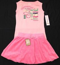 NWT Juicy Couture New Pink Cotton Bubble Skirt & Vest T.Shirt Set Girls Age 8
