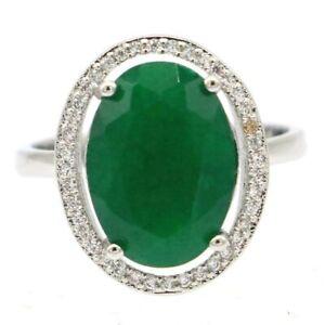 SheCrown Elegant Real Green Emerald White CZ Bride Wedding Silver Ring 6.0