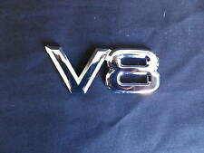 V8 BADGE  80mm x 30mm CHROME PLASTIC STICK ON