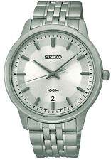 SEIKO SUR027P1 Date White Dial WR 100m Men's Analogue Watch 1 Year Guarantee