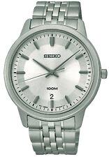 Seiko sur027p1 Data Quadrante Bianco WR 100m orologio uomo analogico garanzia di 1 anni