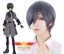 Black Butler 3 Ciel Phantomhive Dark Blue Mixed Grey Cosplay Wig free wigs cap