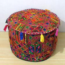 """22"""" Indian Ottoman Pouf Cover Vintage Patchwork Cotton Ethnic Handmade Round (1)"""
