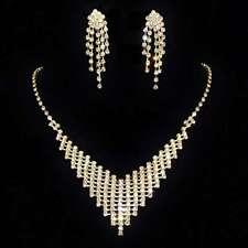 """Parure de bijoux dorée collier boucles d'oreilles cristal mariage """"amalys"""" miss"""