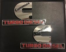 DODGE RAM 2500 3500 CUMMINS TURBO DIESEL FENDER OR DOOR EMBLEMS SET CHROME RED
