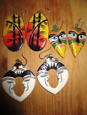 Retro vintage  80's handpainted balsa wood face bamboo earrings 5-6cm x 3 prs