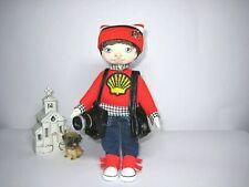 Rag doll boy photographer, textile art doll boy