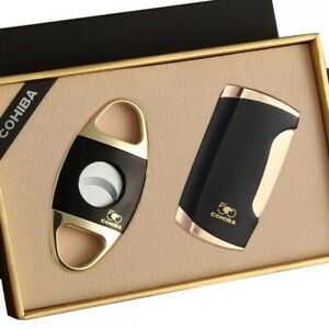 Limited COHIBA Metal Lighters Windproof 2 Jet Torch Flame Cigar Lighter Pocket