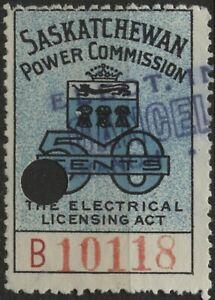 "Canada VanDam#SE19 1937 50c blue ""B"" Saskatchewan Electrical Insp Stamp used"