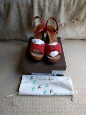 Chie Mihara Doremi orange coral leather sandals wedges Heel UK 7 EU 40