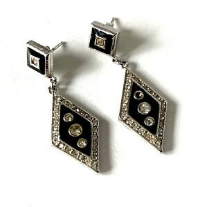 Italian Solid Sterling Silver Art Deco Style Black Enamel Diamante Earrings