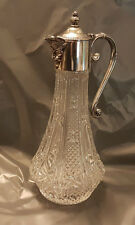 VINTAGE BEAUTIFUL GLASS CLARET JUG WITH SILVER PLATED BACCHUS MASK SPOUT
