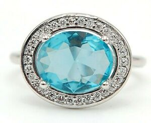 Flawless 4CT Aquamarine & Topaz 925 Solid Sterling Silver Ring Jewelry Sz 6 M13