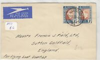 South Africa 1937 Flying Boat Airmail To England GB Stamp on Rear  J6057