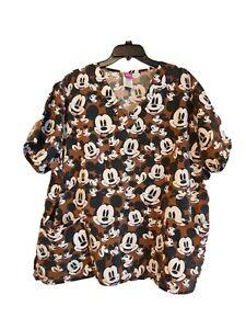 Disney Mickey Mouse Women's Scrub Top Size 2X Short Sleeve