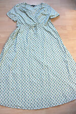 BODEN light aqua bud pattern cotton crinkled  dress size 10R NEW WH136