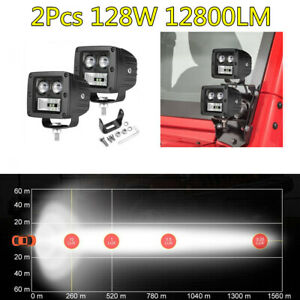 2X 3in Car SUV Off-Road Fog Light Spot Flood Combo LED Work Light Bar Kit 128W