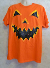 Gildan Halloween Jack O' Lantern Unisex Tee Shirt Men's Size Large Orange Cotton