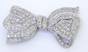 Heavy 18K white gold elegant 2.67CTW diamond cluster bow/ribbon brooch