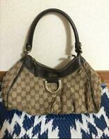Auth Gucci Handbag Tote Bag GG Canvas Monogram USED Brown Women Purse G0612